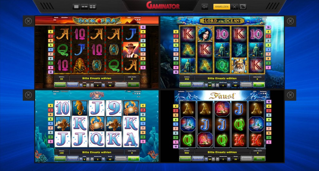 Vier Spiele nebeneinander bei Supergaminator